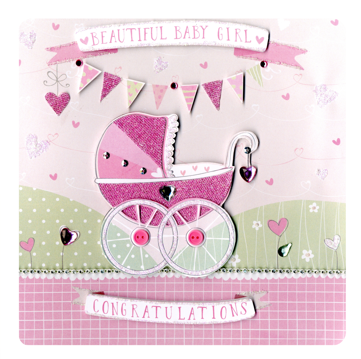 Beautiful New Baby Girl Keepsake Card  Cards  Love Kates-2681