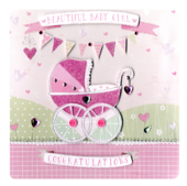 Beautiful New Baby Girl Keepsake Card