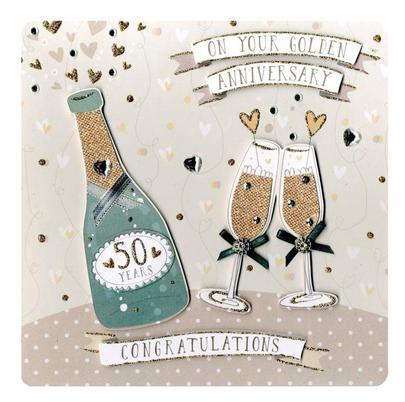 Golden 50th Anniversary Keepsake Card