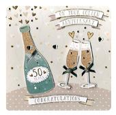 Golden 50th Anniversary Keepsake Card