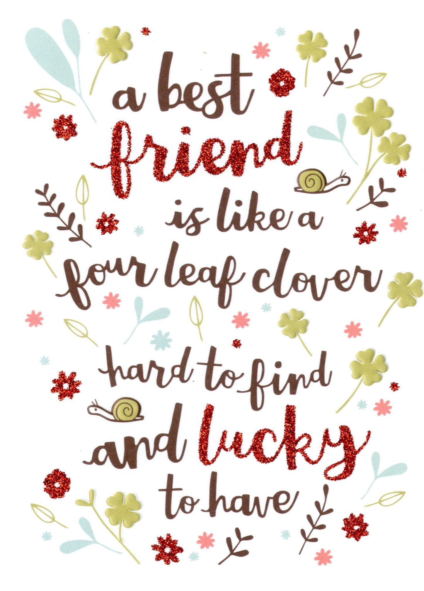 Beautiful Best Friend Like Four Leaf Clover Birthday Card