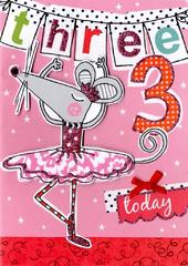 Girls 3rd Birthday Card Three Today