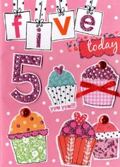 Girls 5th Birthday Card Five Today