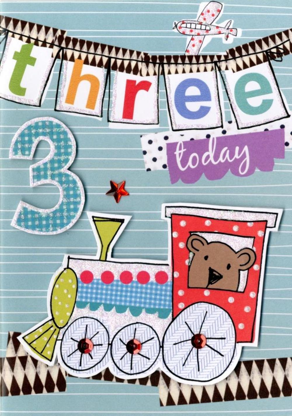 Boys 3rd Birthday Card Three Today