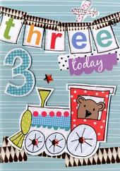 Boys 3rd Birthday Card Three Today