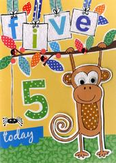 Boys 5th Birthday Card Five Today
