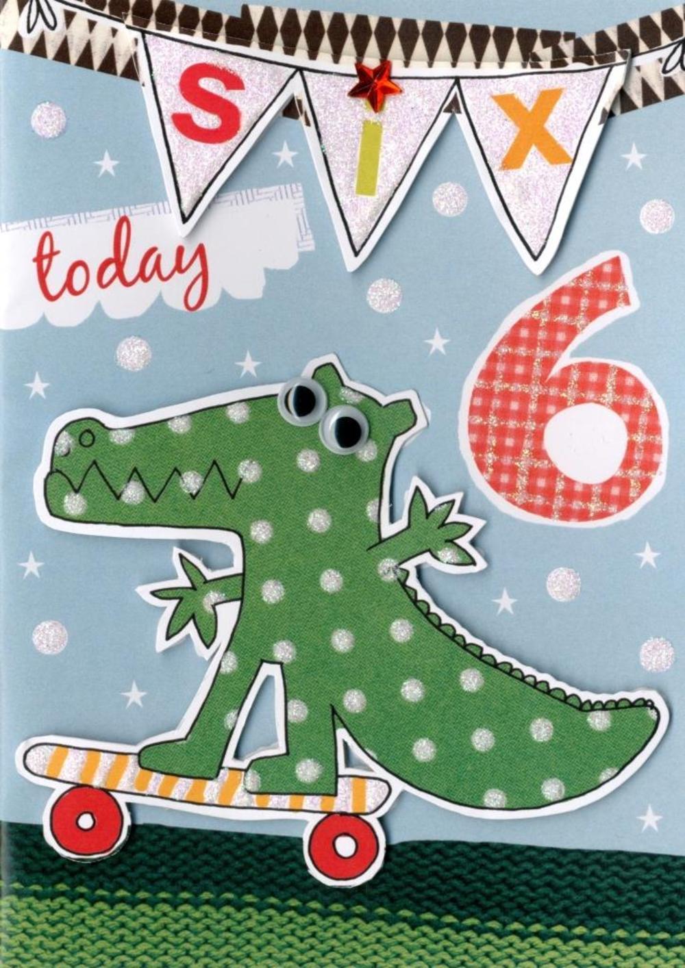 Boys 6th Birthday Card Six Today