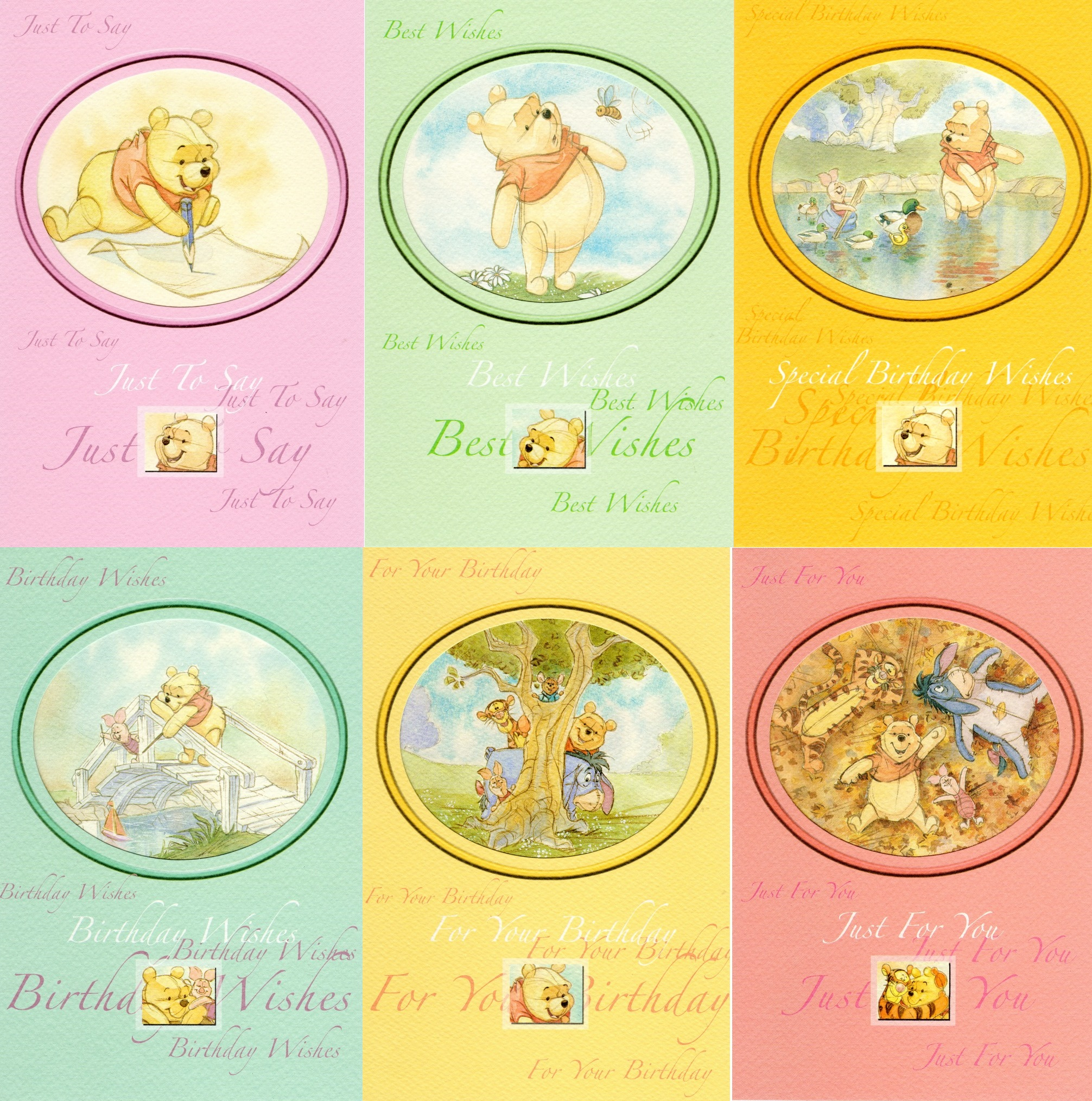 Assorted Pack Of 6 Winne The Pooh Greeting Cards Mixed Greetings