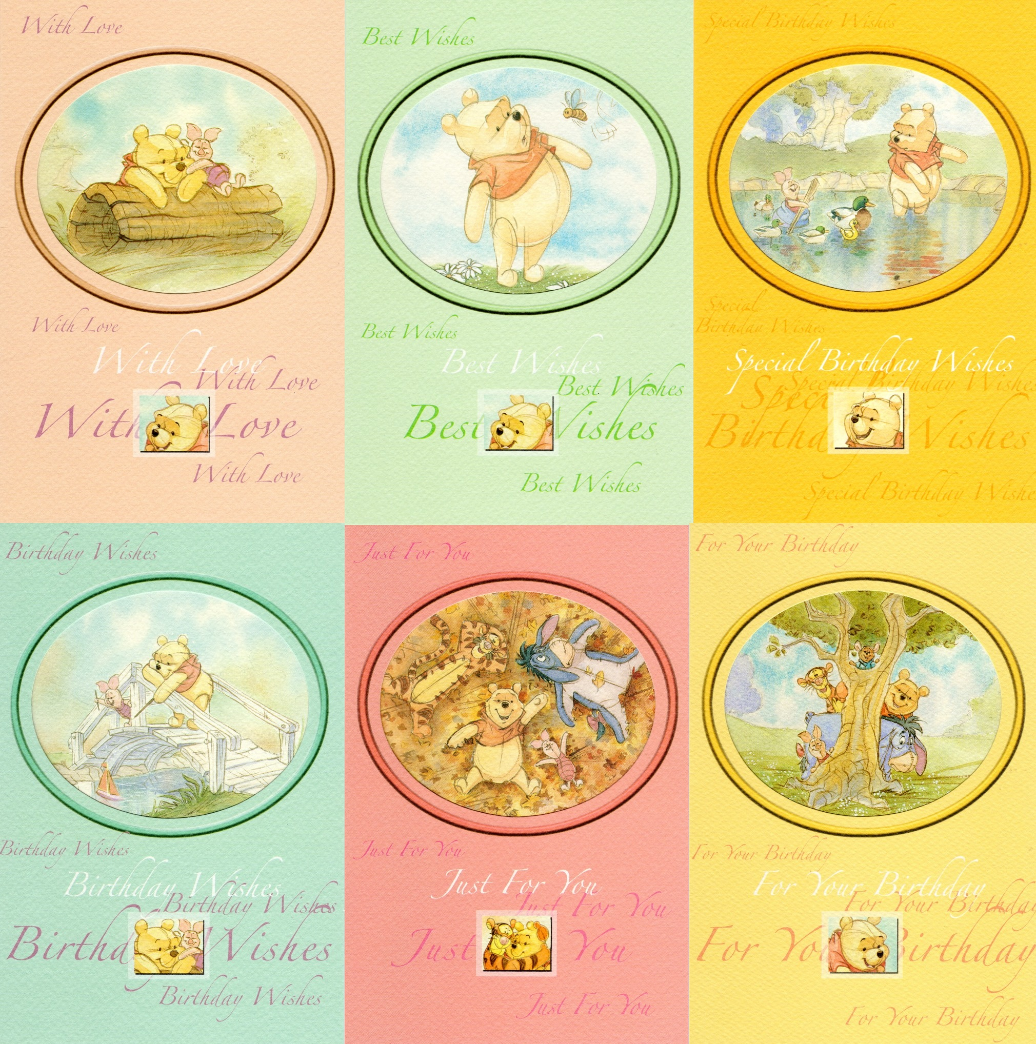 Assorted pack of 6 winne the pooh greeting cards cards love kates assorted pack of 6 winne the pooh greeting cards m4hsunfo