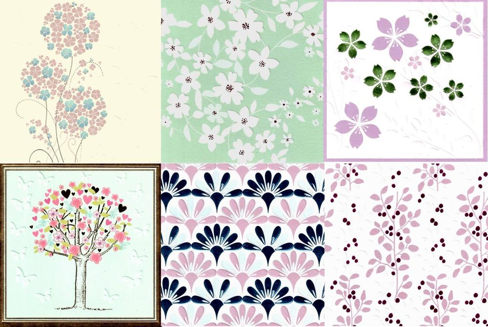 Assorted Pack of 6 Pretty Floral Blank Greeting Cards