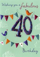On Your 40th Birthday Greeting Card