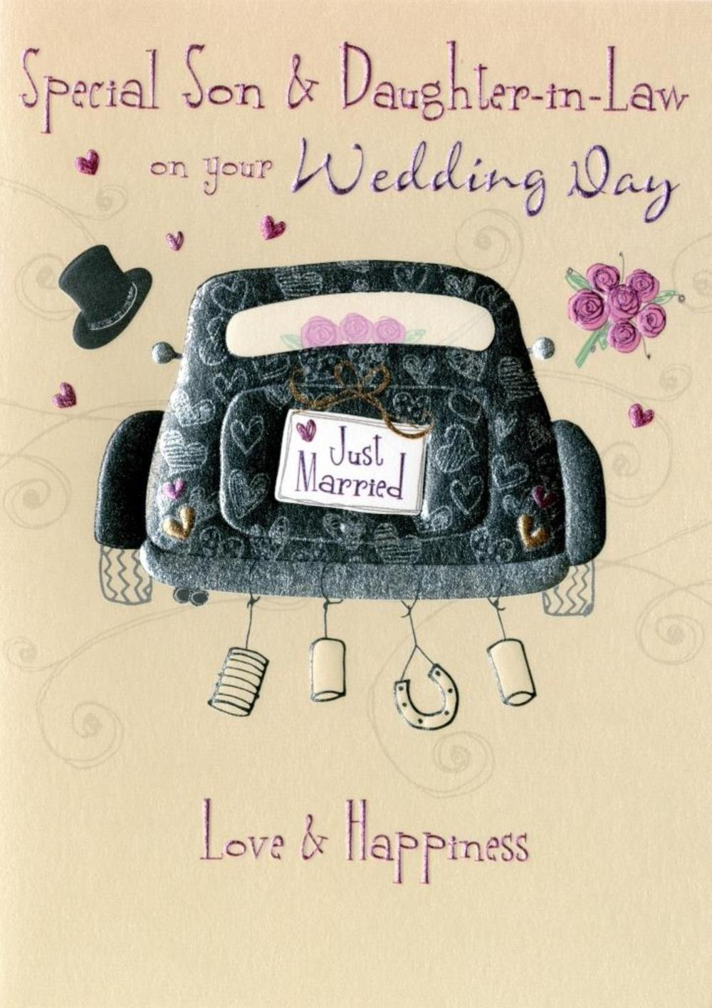 Son Daughter In Law Wedding Day Greeting Card Thumbnail 1