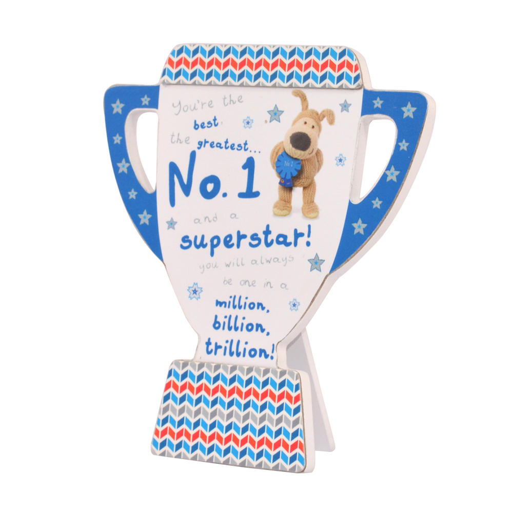 Boofle Wooden Trophy Shaped No.1 Superstar Plaque