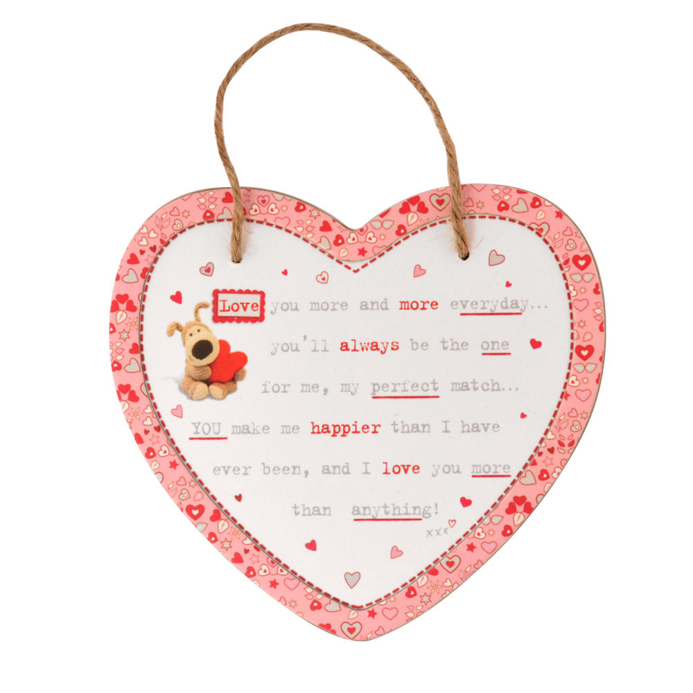 Boofle Wooden Heart Shaped I Love You Plaque