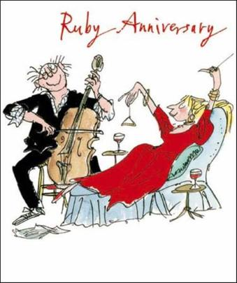 Quentin Blake Ruby Anniversary Greeting Card
