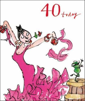 Quentin Blake 40th Birthday Greeting Card