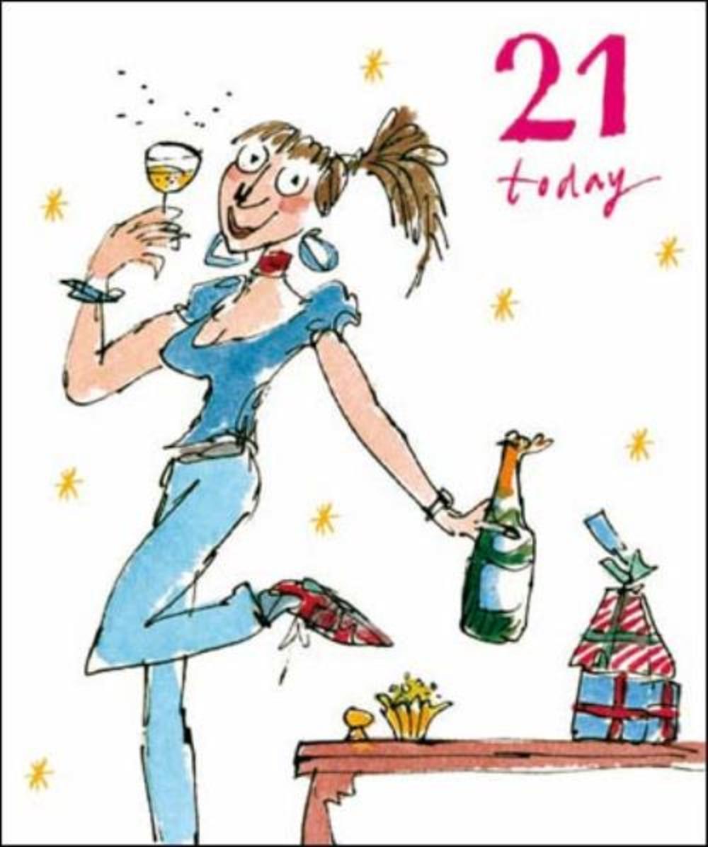 Quentin Blake 21st Birthday Greeting Card