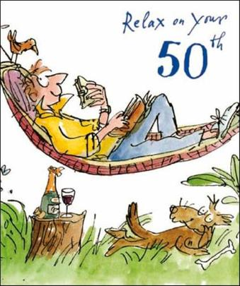 Quentin Blake 50th Birthday Greeting Card