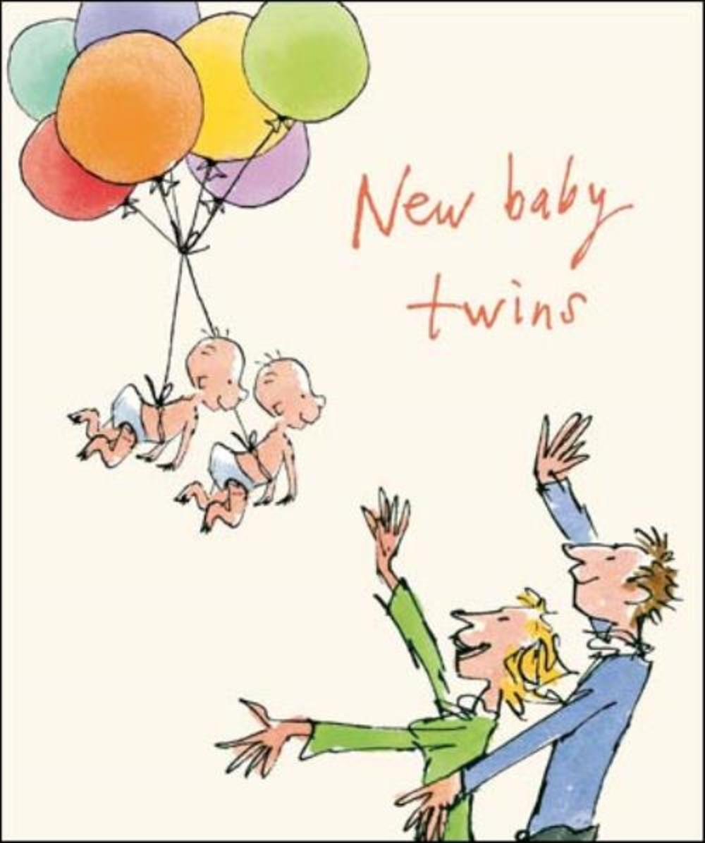 Quentin Blake New Baby Twins Greeting Card