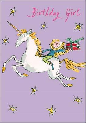 Quentin Blake Unicorn Birthday Girl Greeting Card