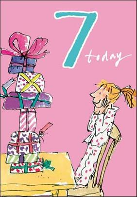 Quentin Blake Girls 7th Birthday Greeting Card