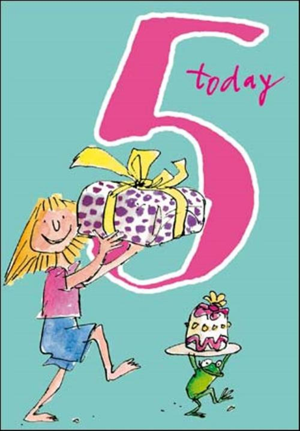 Quentin Blake Girls 5th Birthday Greeting Card