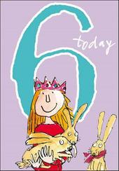 Quentin Blake Girls 6th Birthday Greeting Card