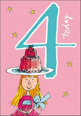 Quentin Blake Girls 4th Birthday Greeting Card