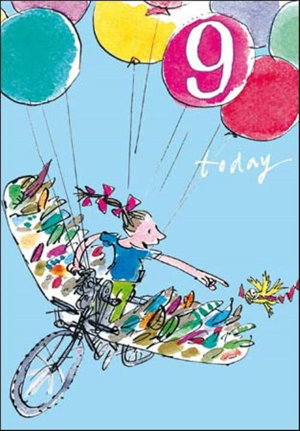 Quentin Blake Girls 9th Birthday Greeting Card