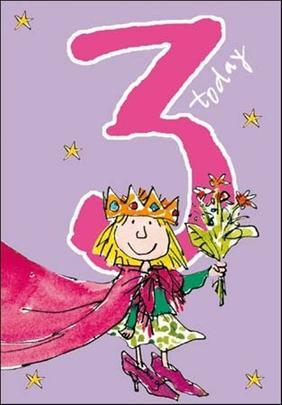 Quentin Blake Girls 3rd Birthday Greeting Card