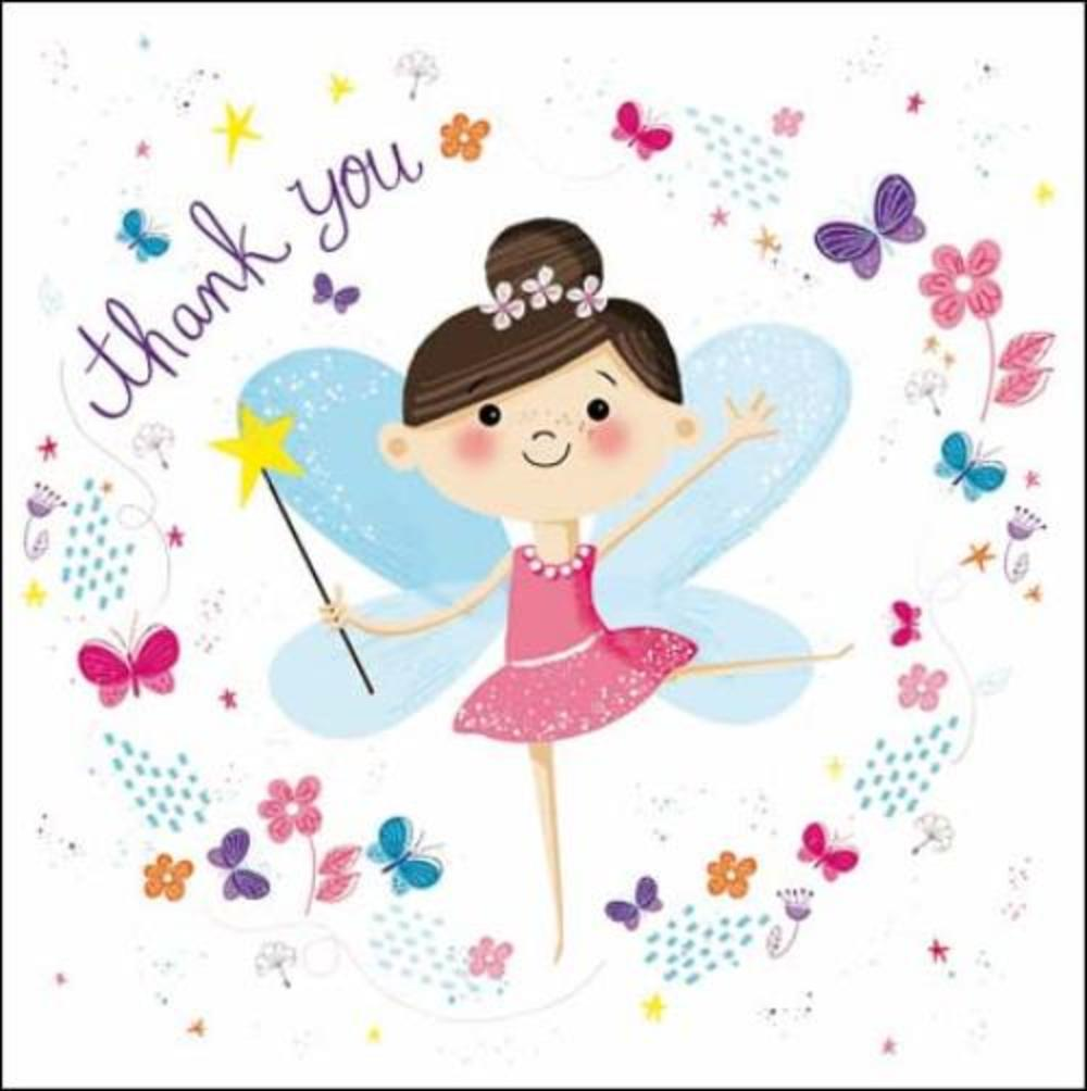 Pack of 5 Small Square Fairy Thank You Greeting Cards