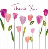 Pack of 5 Small Square Tulip Thank You Greeting Cards