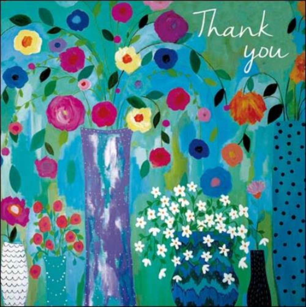 Pack of 5 Small Square Flower Thank You Greeting Cards