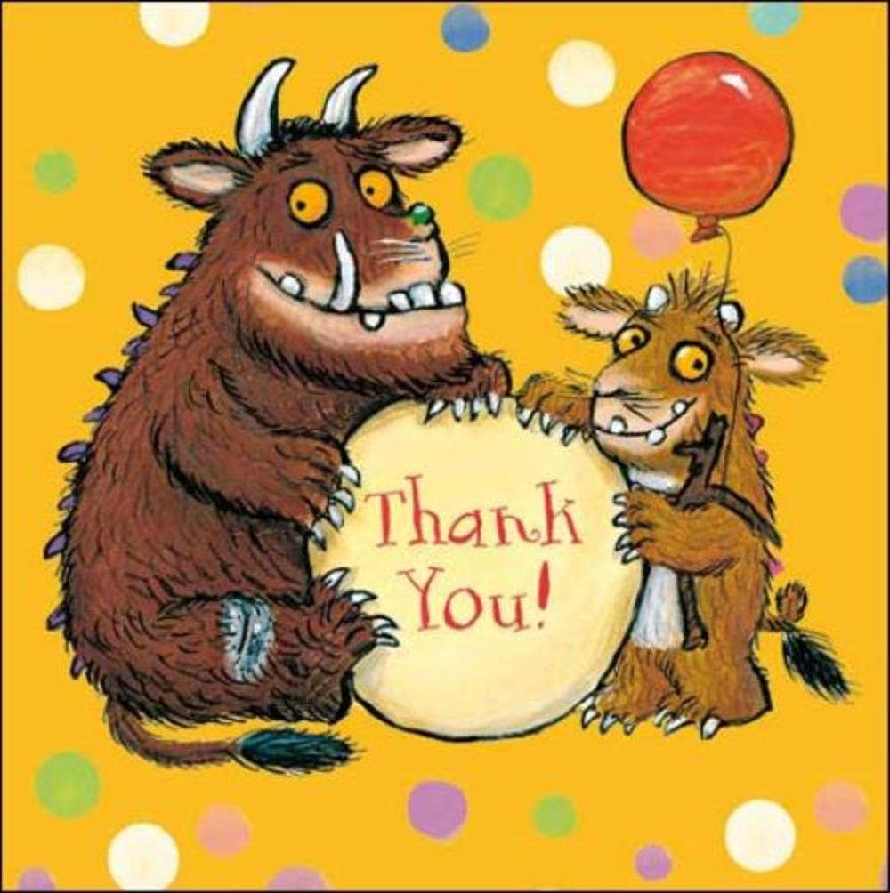 Pack of 5 Small Square Gruffalo Thank You Greeting Cards