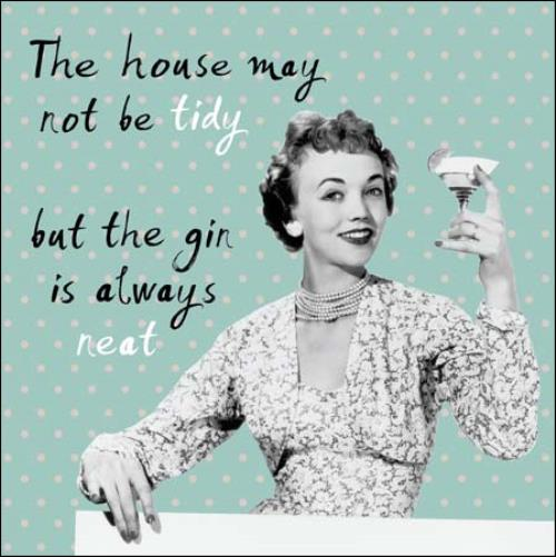 House Not Tidy Gin Always Neat Retro Humour Birthday Card Funny