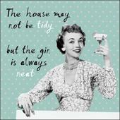 House Not Tidy Gin Always Neat Retro Humour Birthday Card