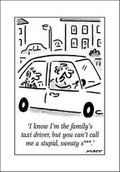 Family Taxi Funny Matt Greeting Card