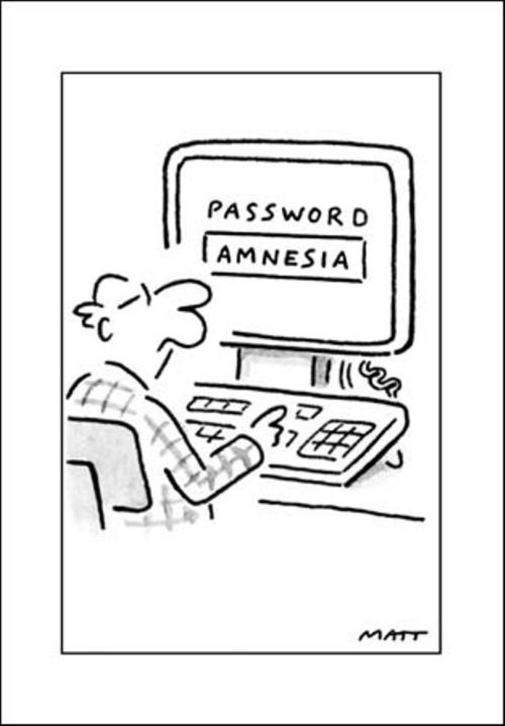 Password Amnesia Funny Matt Greeting Card