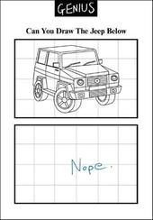 Draw Jeep Funny Genius Greeting Card