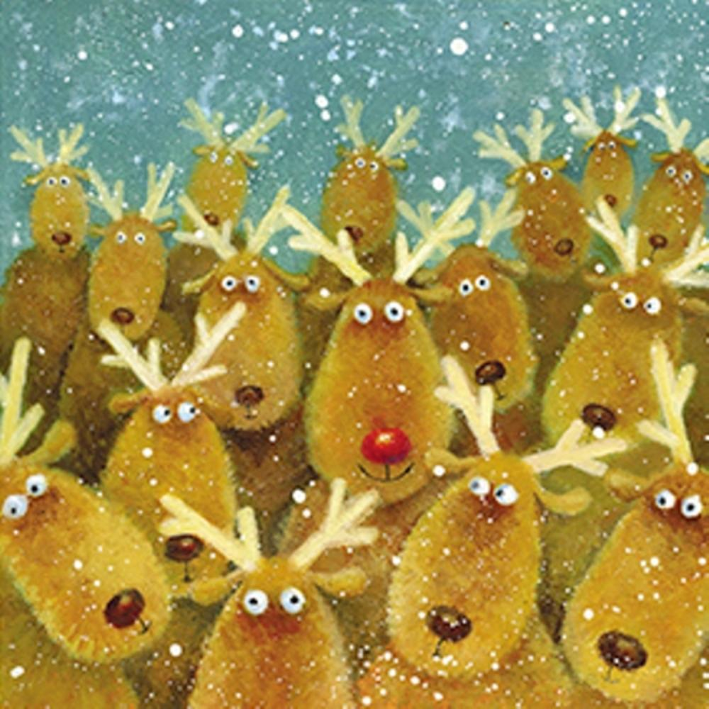 Pack of 8 Mini Rudolph Stroke Association Charity Christmas Cards