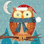 Pack of 8 Mini Owl Multiple Sclerosis Charity Christmas Cards