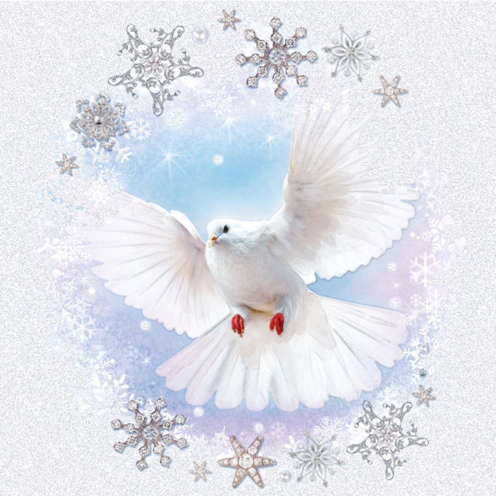 Pack of 5 Peace Dove Traditional Christmas Cards