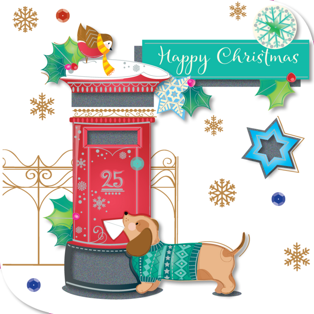 Happy Christmas Cute Dog Greeting Card