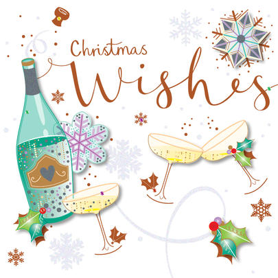 Christmas Wishes Champagne Greeting Card