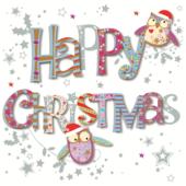 Happy Christmas Cute Owls Greeting Card
