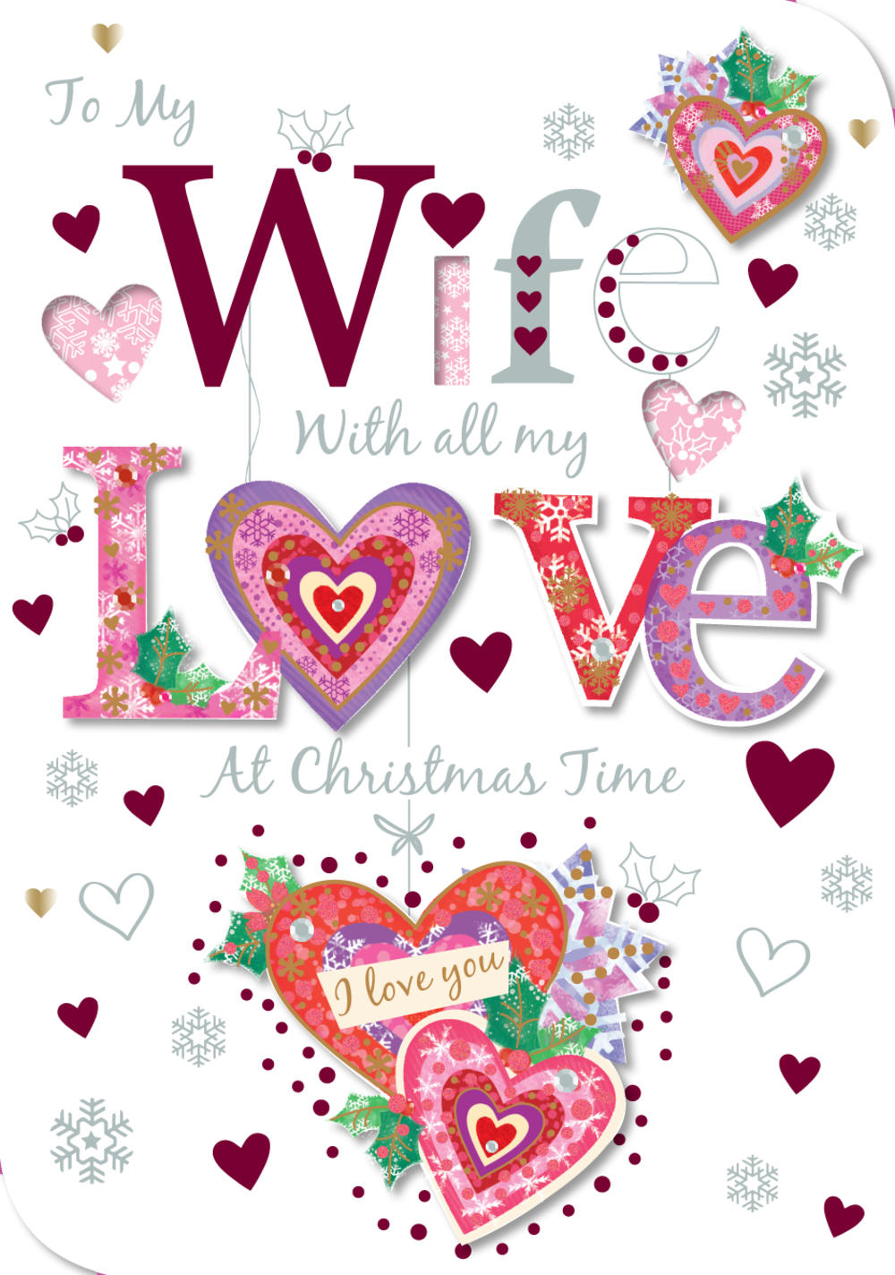 To My Wife Christmas Greeting Card Cards Love Kates