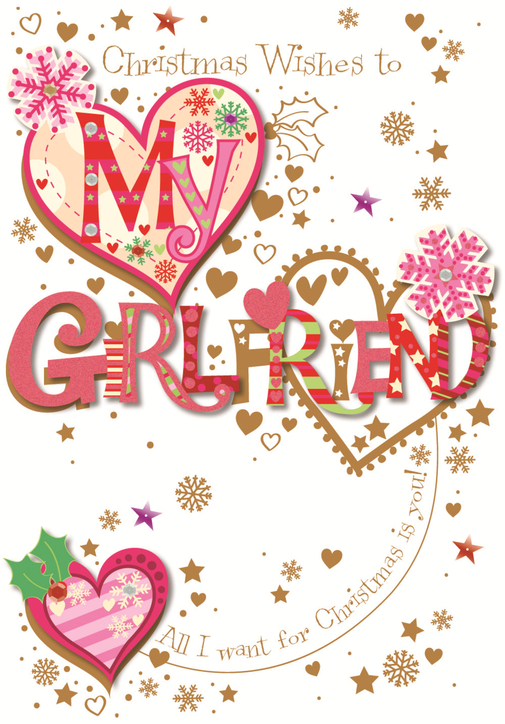 To My Girlfriend Christmas Greeting Card