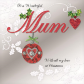 Boxed Wonderful Mum Special Luxury Handmade Christmas Card