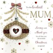 Boxed Loveliest Mum Special Luxury Handmade Christmas Card