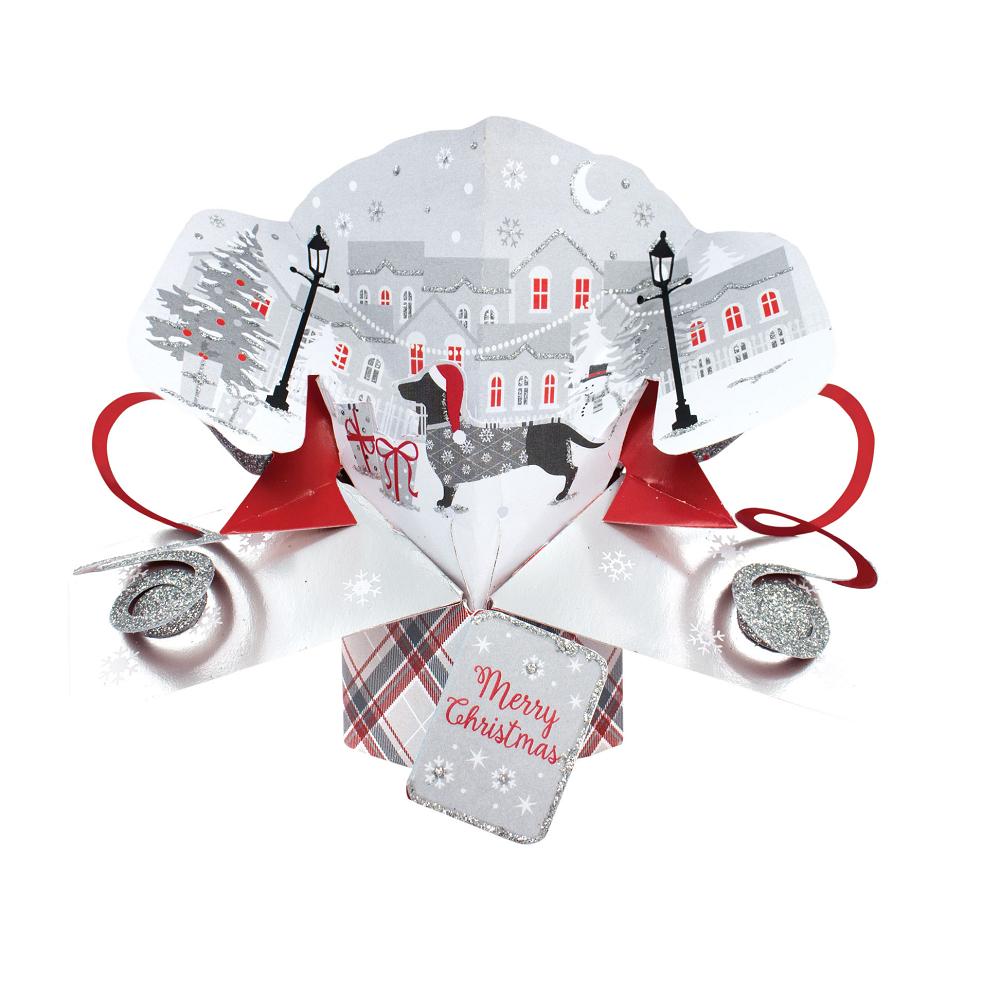 Xmas Dog Petite Christmas Pop Up Greeting Card Cards